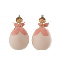 2 grands anges boules roses